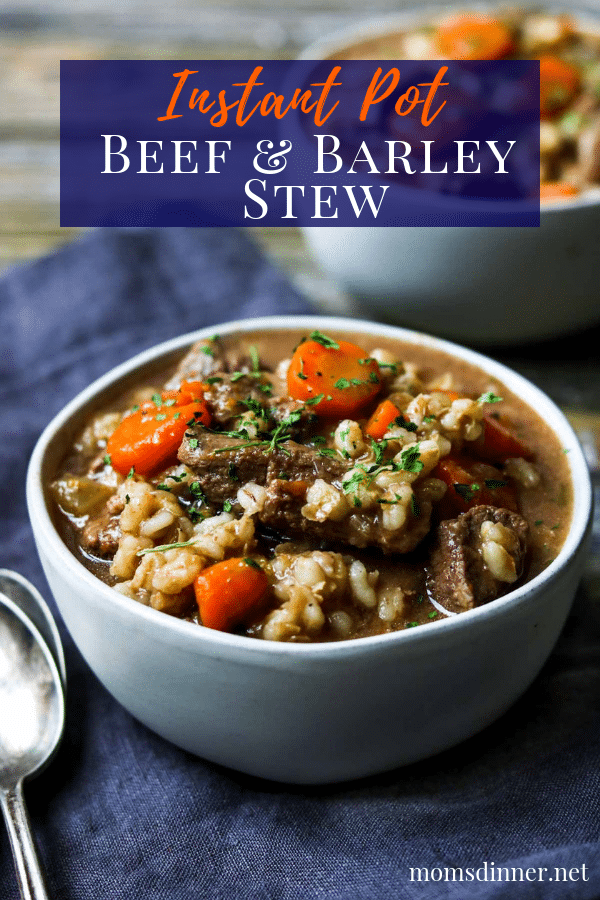 Instant Pot Beef and Barley Stew Pinterest Image