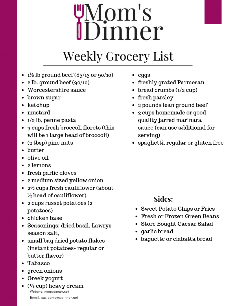 Feb 4th free printable grocery list
