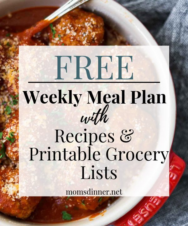 Free meal plan and grocery list pin image