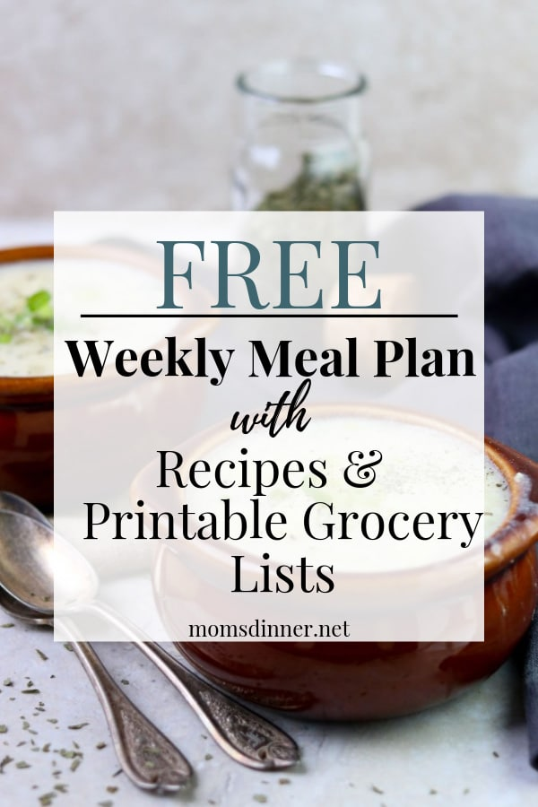 meal plan with grocery list pin image