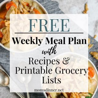 Free Meal plan and printable grocery list pin image