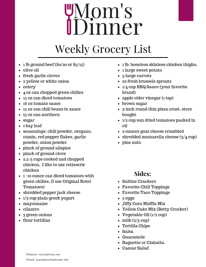 printable grocery list from mom's dinner