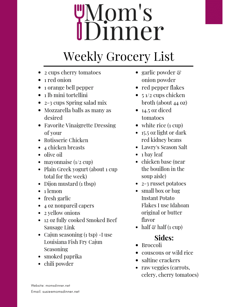 Mom's Dinner printable grocery list