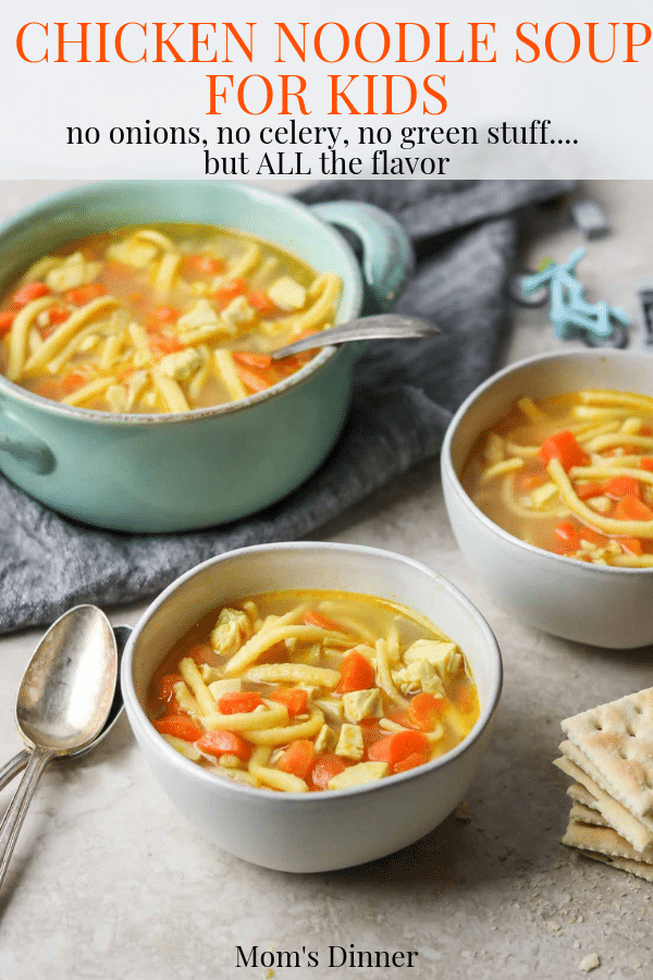 bowls of chicken noodle soup for kids, pinterest image