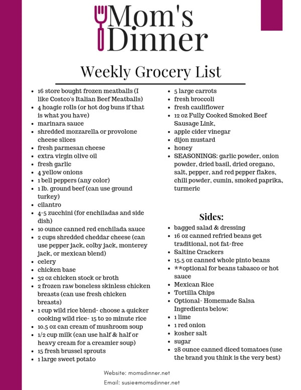 Feb 24th Meal Plan grocery list for moms dinner