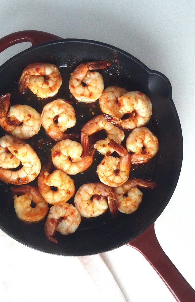 Shrimp in a skillet