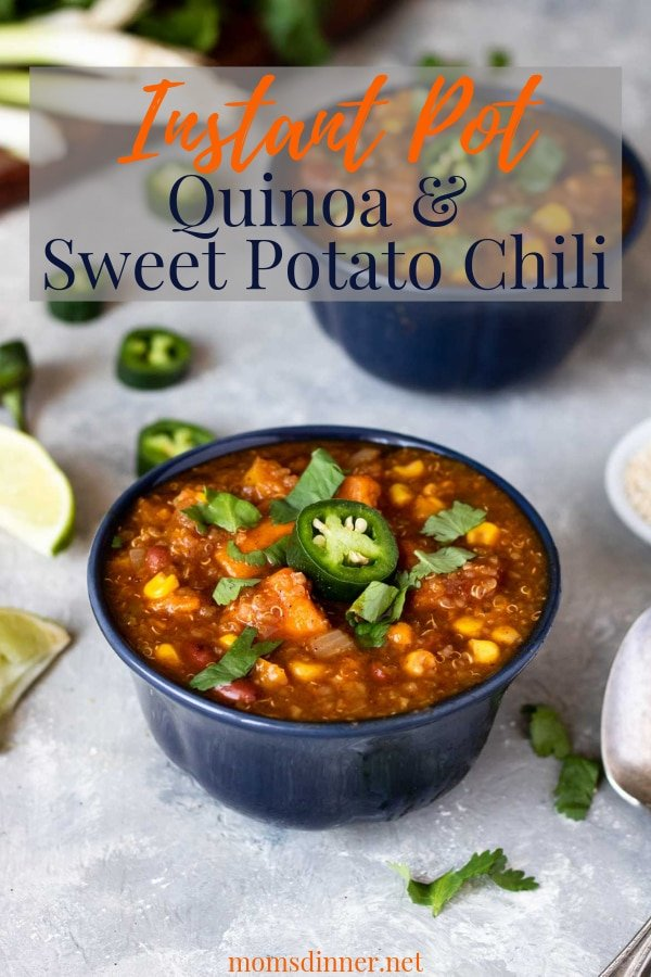 Instant Pot Quinoa Sweet Potato Chili Pinterest Image