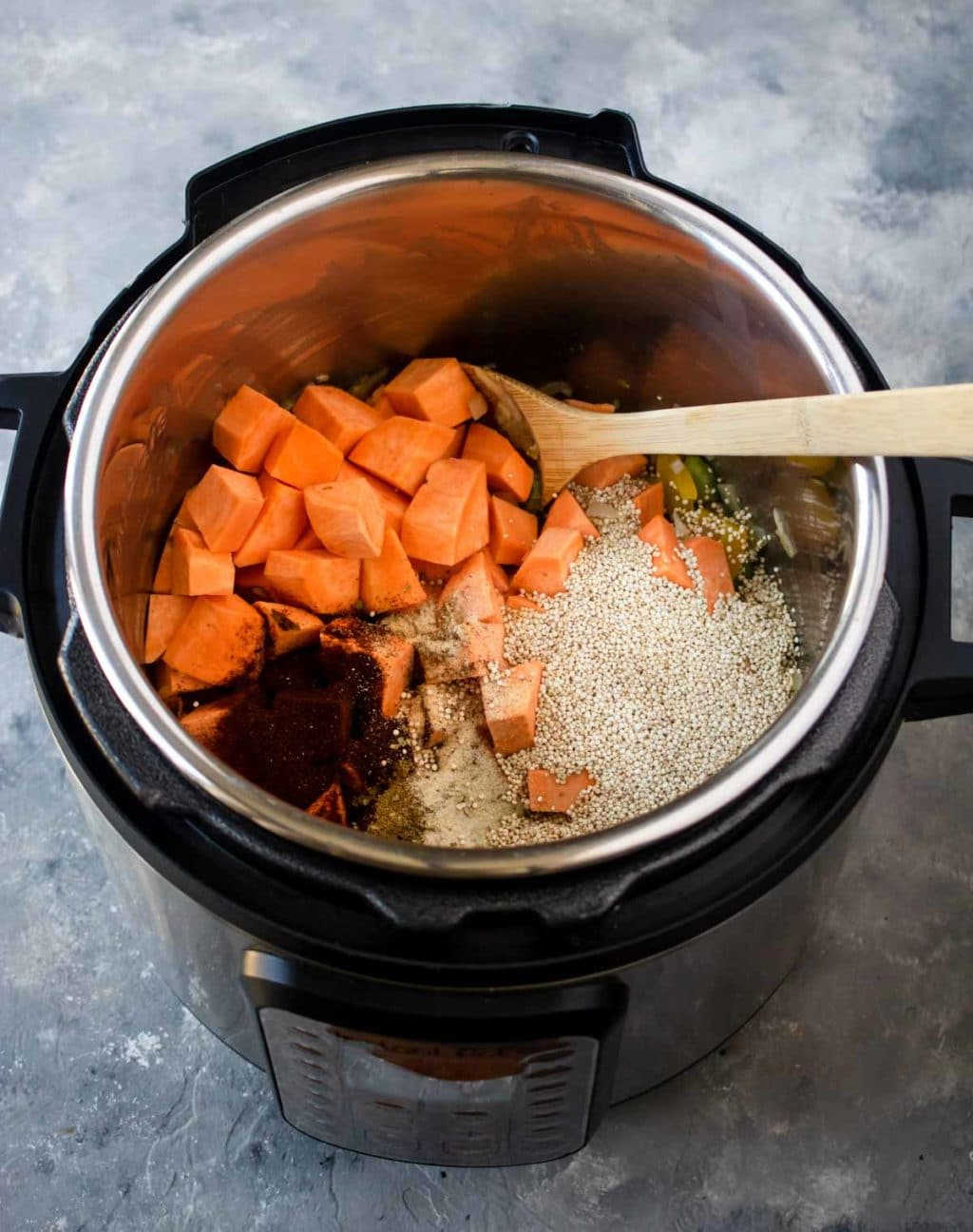 Sweet Potatoes, Quinoa, and spices in the Instant Pot