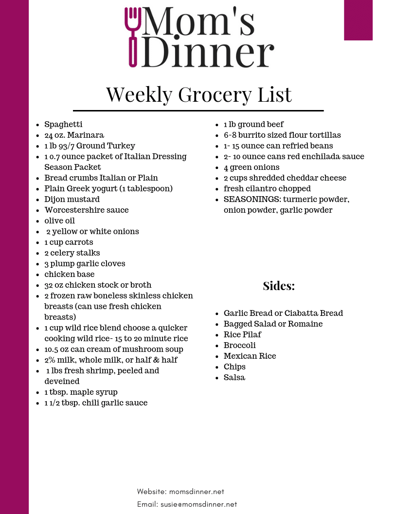 Free Printable grocery list for this meal plan