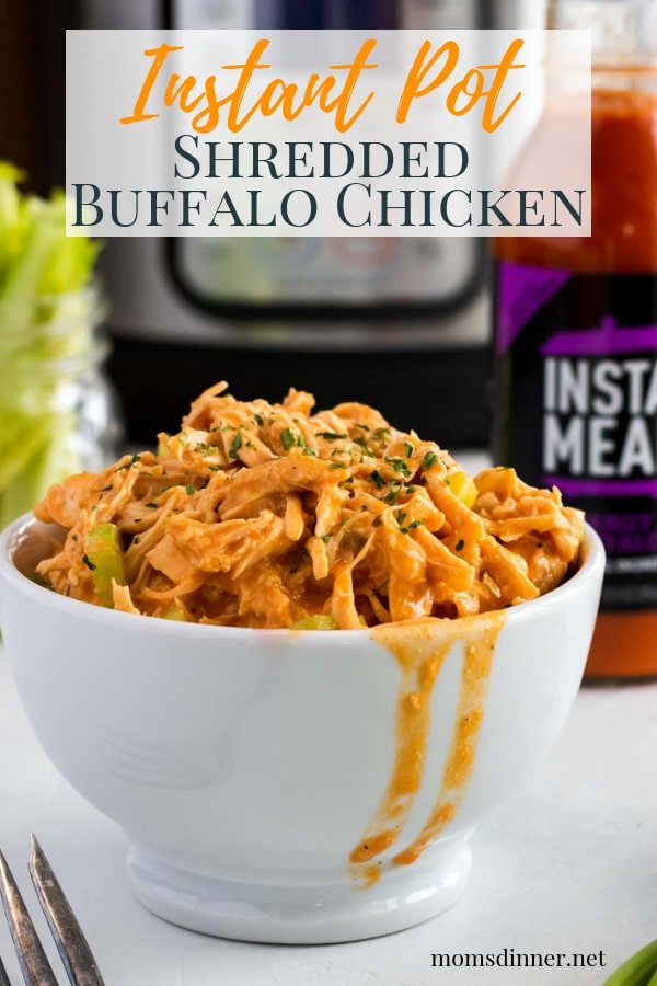 Shredded Buffalo Chicken made in the Instant Pot Pinterest Image