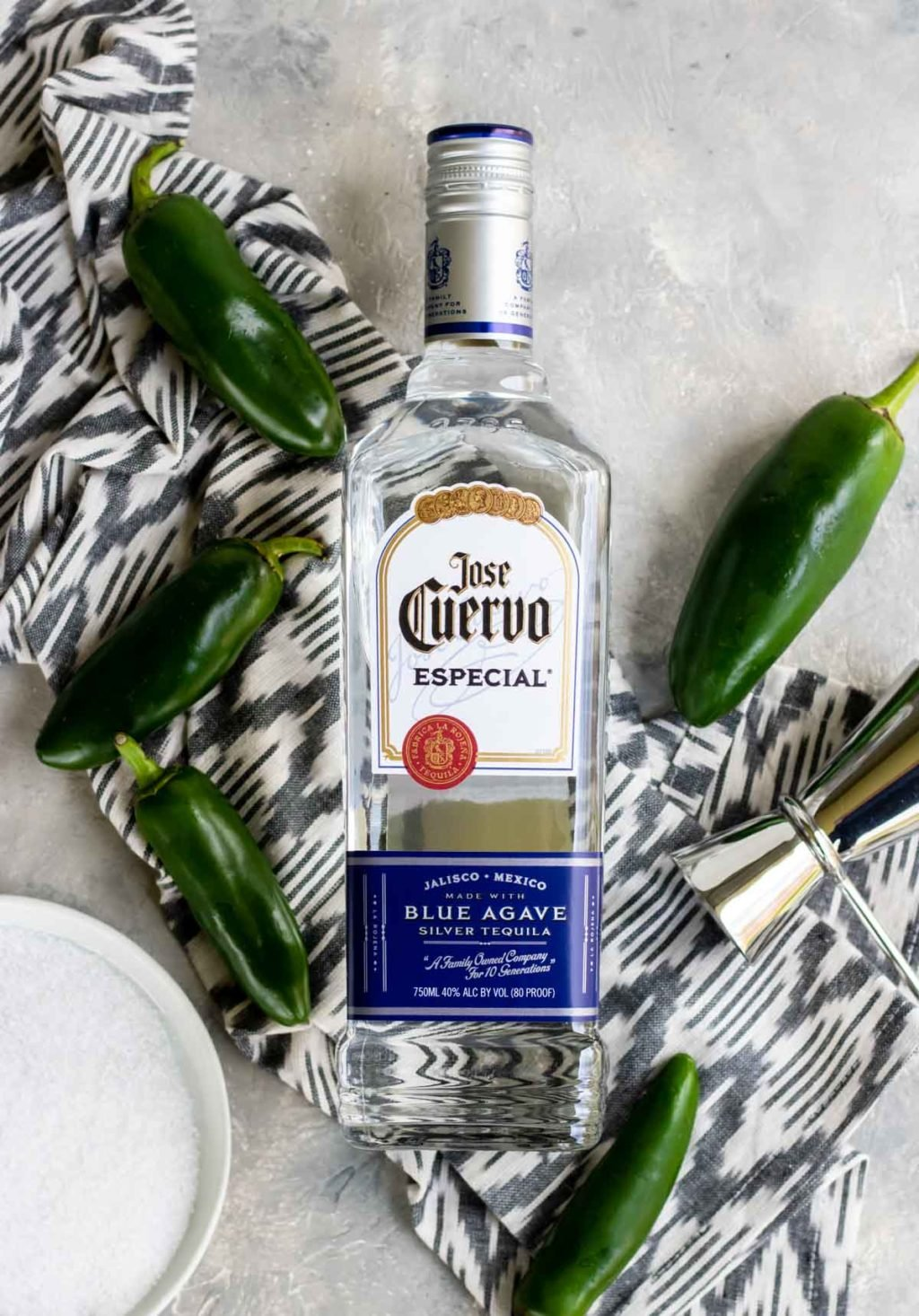 A bottle of Jose Cuervo Especial Blue Agave Silver tequila