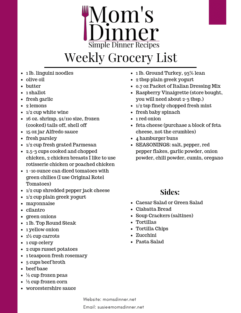 Free Printable Grocery List for a practical and family friendly meal plan