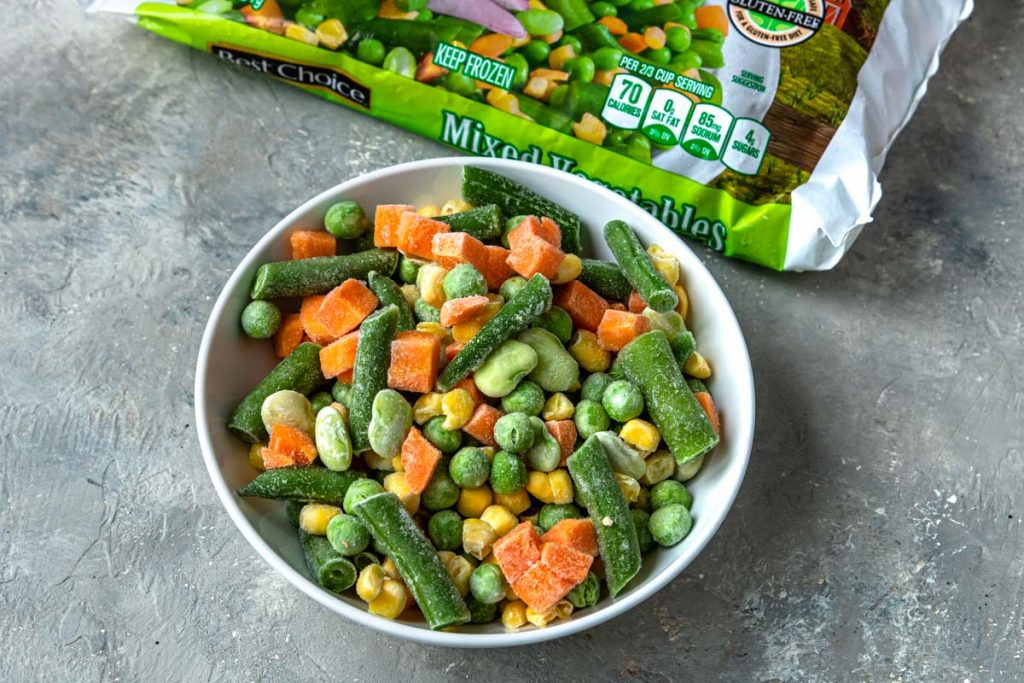 Frozen Mixed Vegetables in a white bowl