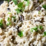 Instant Pot Mushroom Risotto on a plate