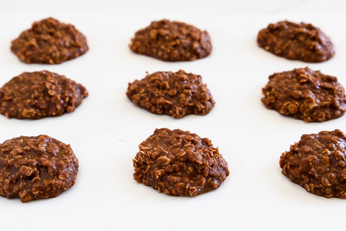 rows of no bake cookies on parchment