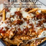 Baked Penne Pasta with Sausage, pinterest text