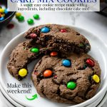 Chocolate Cake Mix cookies on a white plate with one cut in half- pinterest text over top