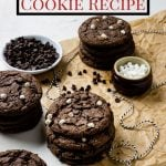 Hot Cocoa Cookies stacked up with pinterest text over top