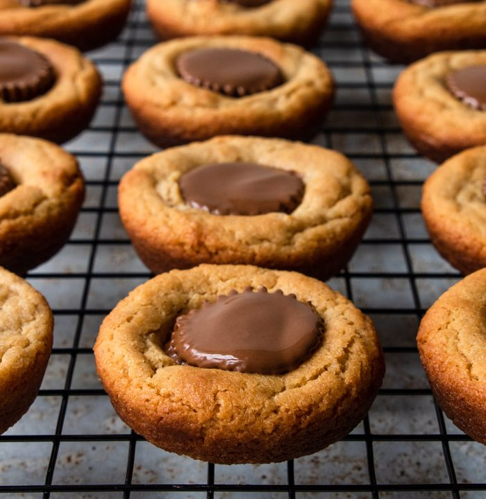 Peanut Butter Cup cookies cooling on a rack