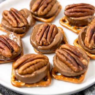 Rolo Pretzel Turtle Candies on a white plate