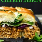 BBQ Chicken Sliders on a black plate- pinterest text overlay