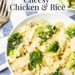 A bowl of Instant Pot Chicken and Rice pin image with pinterest text over top