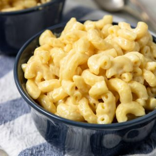 pressure cooker mac and cheese in a bowl