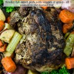 Electric Pressure Cooker Pork Roast on a platter with veggies and pinterest text overlay
