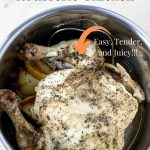 Pinterest Image and text for instant pot whole rotisserie chicken
