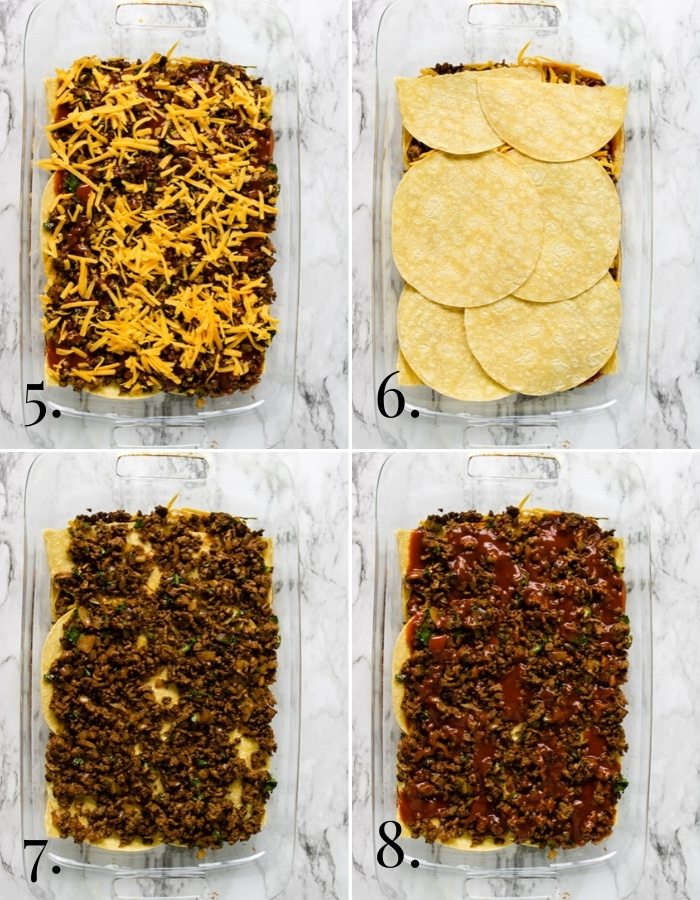 5-8 step by step pictures showing how to make ground beef enchilada casserole