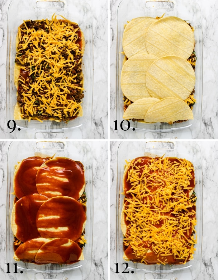 steps 9-12 photos showing how to make enchilada casserole