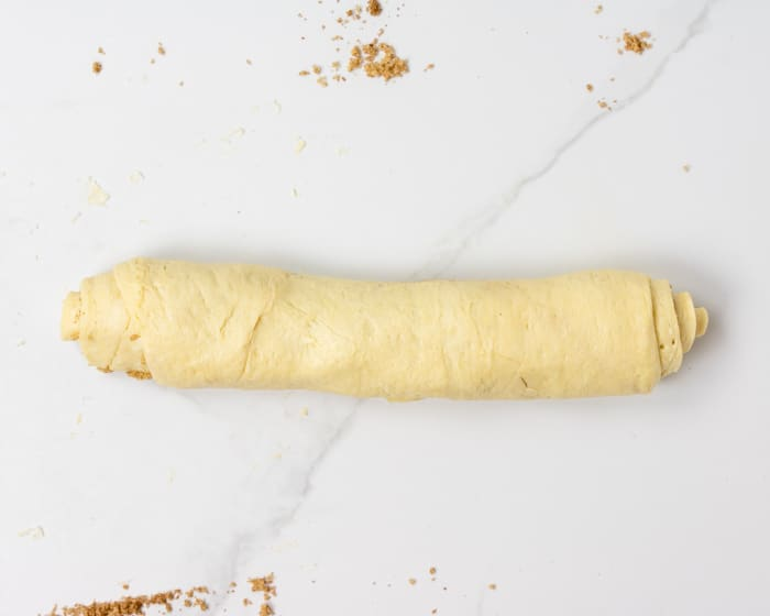crescent dough rolled up into a log