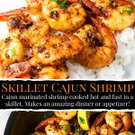 Cajun Shrimp plated over rice and pinterest text overlay