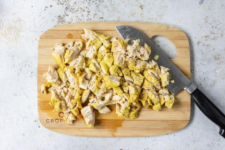 chopped chicken on a cutting board