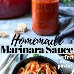 a jar of marinara sauce and a bowl of spaghetti