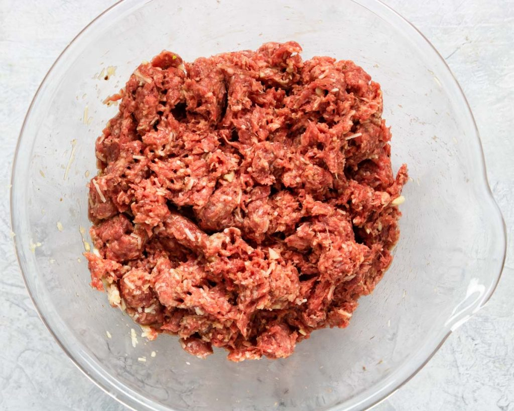 Italian Meatloaf mixture in a bowl