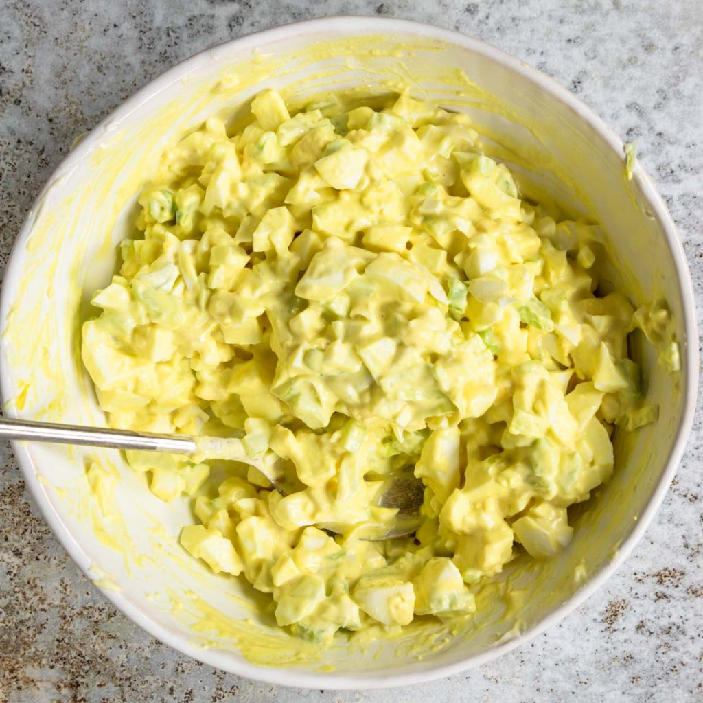 egg salad all mixed together in a bowl