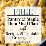 pantry and staple item meal plan pin image