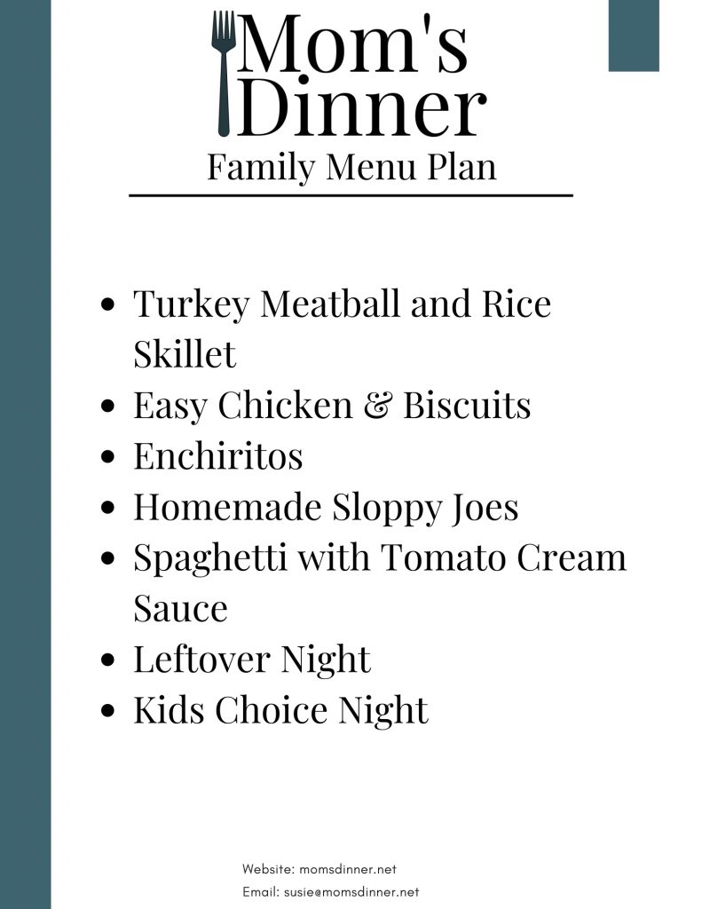 list of dinners for stay at home meal plan