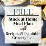 Stuck at home meal plan pinterest image with text