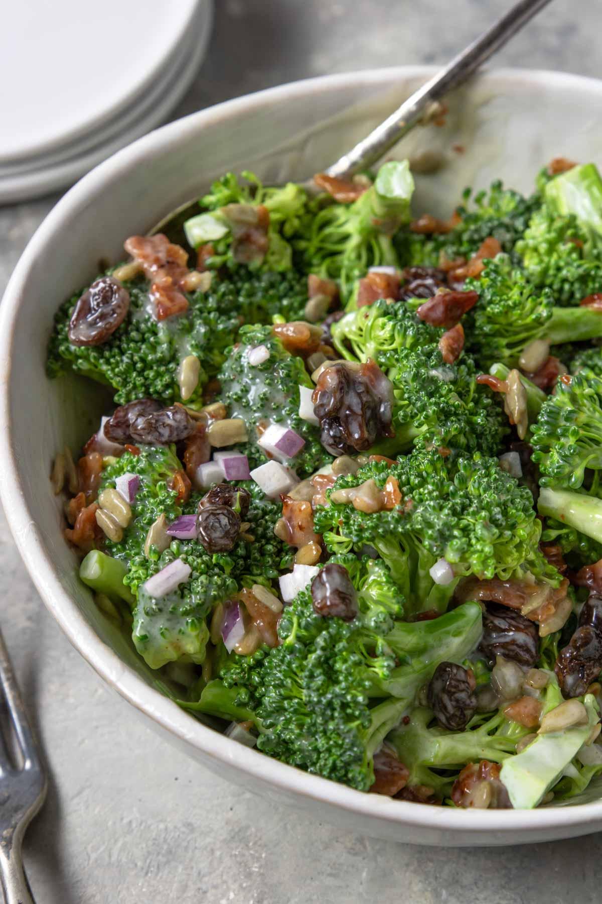 Broccoli Bacon Salad in a bowl