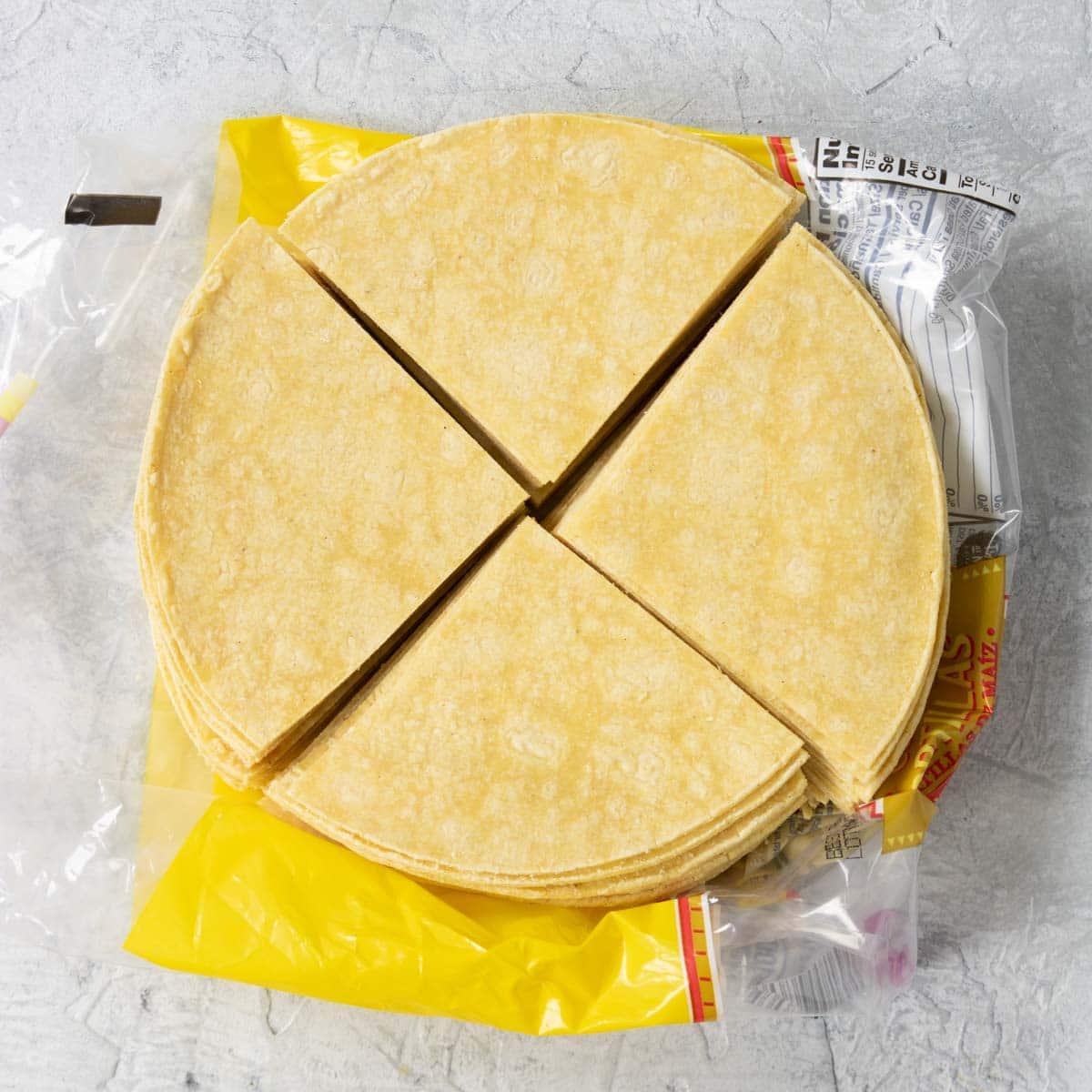 Corn tortillas cut into quarters