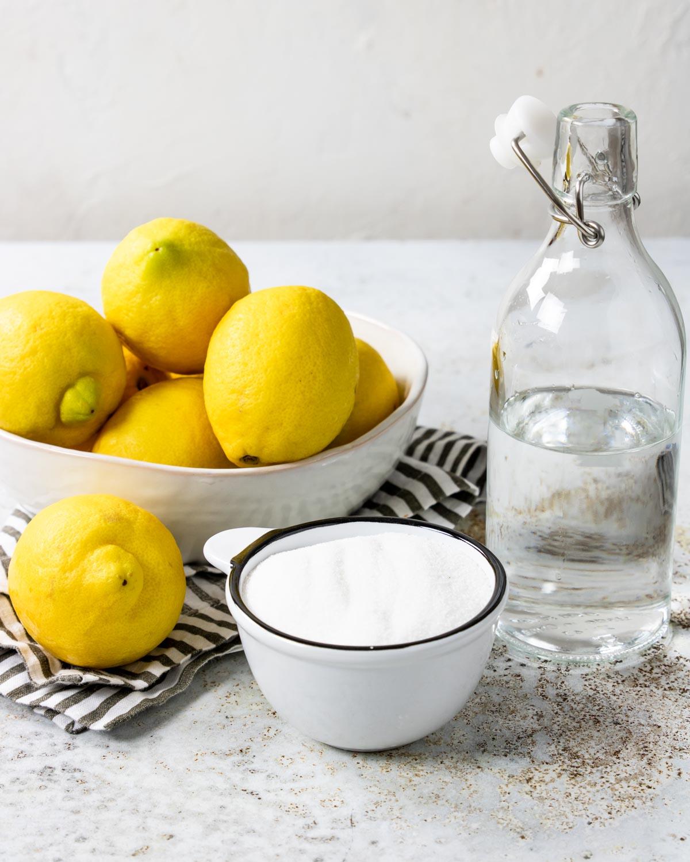 Fresh lemonade ingredients - lemons, sugar, water