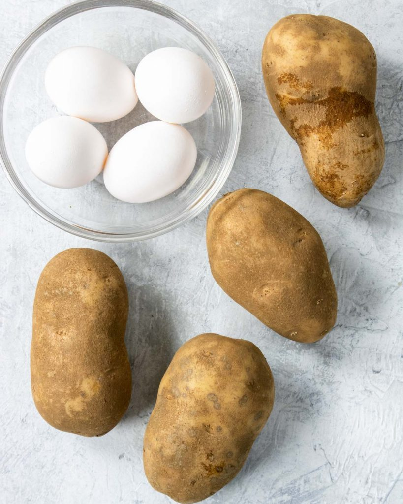 four russet potatoes and 4 eggs