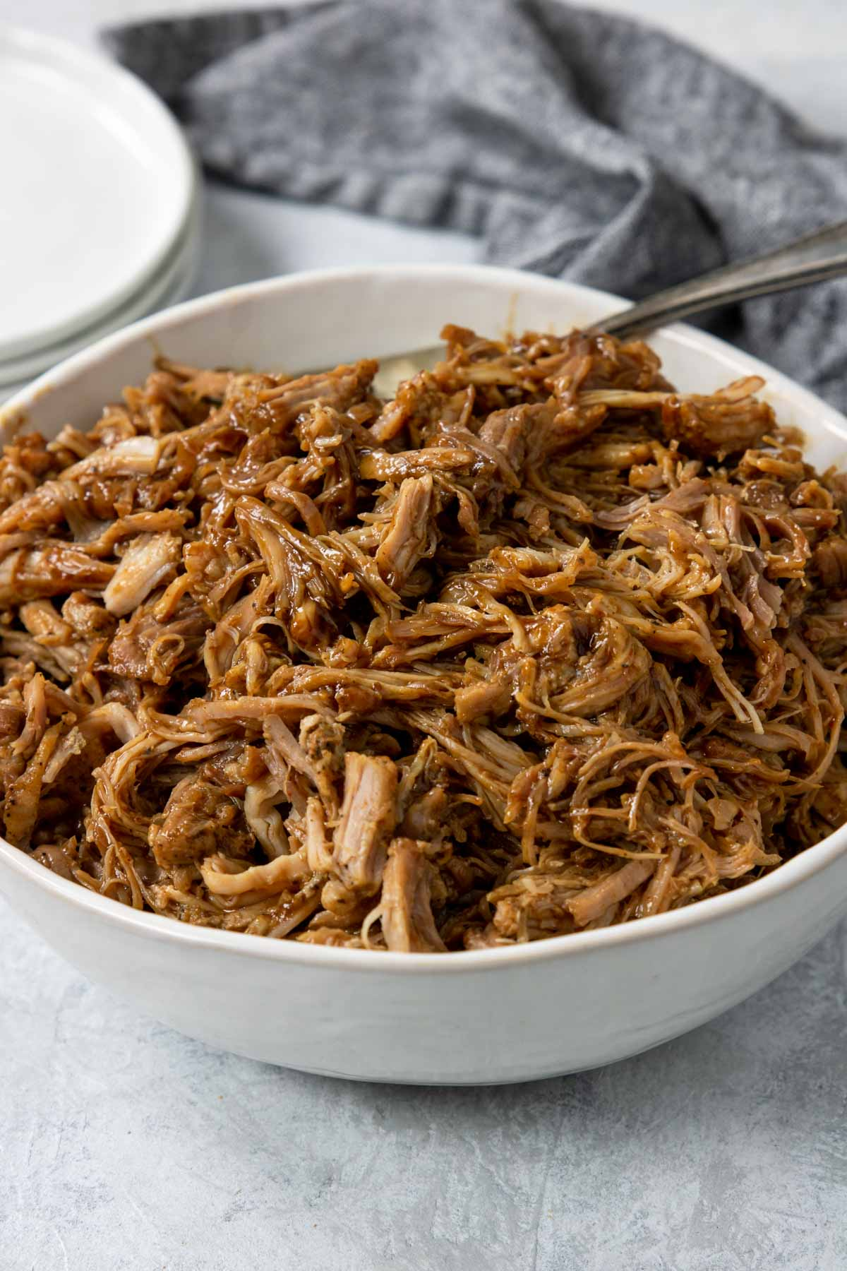 BBQ Pulled pork in a white bowl