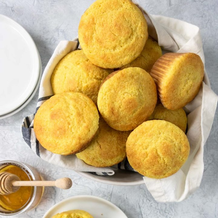basket of corn muffins