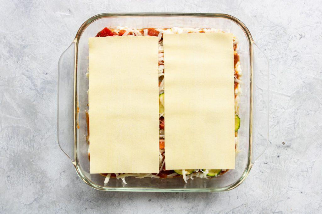 last layer of veggie lasagna - two noodles