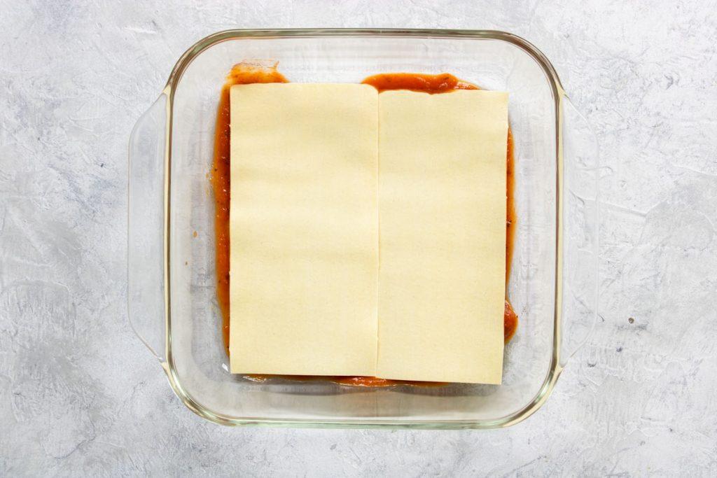 Layering Veggie Lasagna - noodles