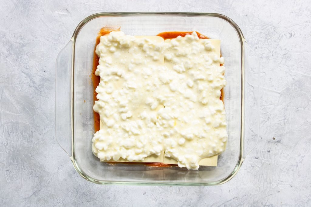 Layering Veggie Lasagna - noodles and cottage cheese