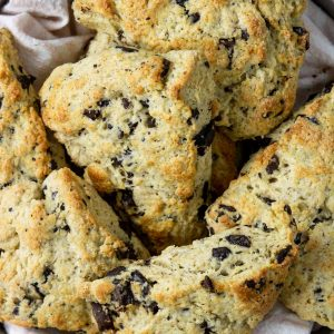 Chocolate Chip Scones in a basket